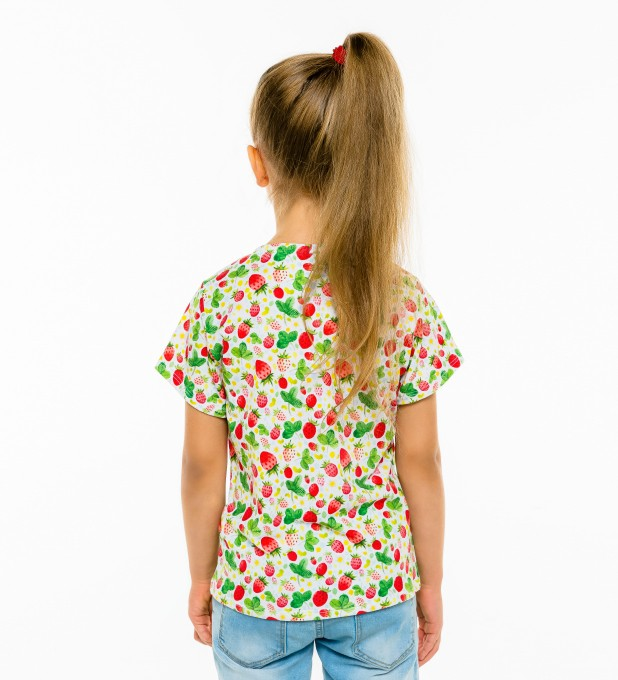 Strawberries Pattern t-shirt for kids Miniature 2