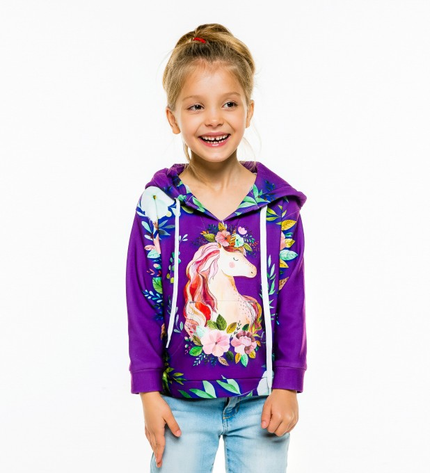 Unicorn Flower Kids Hoodie Miniature 1