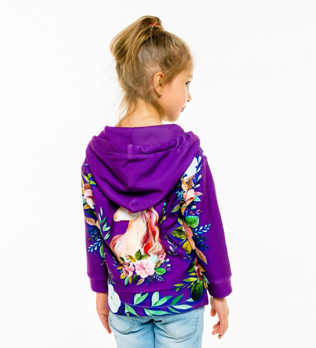 Unicorn Flower Kids Hoodie Miniature 2