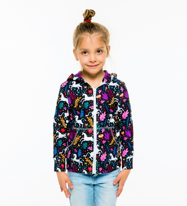 Folk Unicorn Kids Zip Up Hoodie Miniature 1