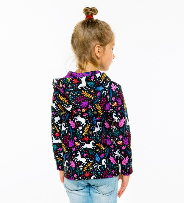 Folk Unicorn Kids Zip Up Hoodie Miniature 2