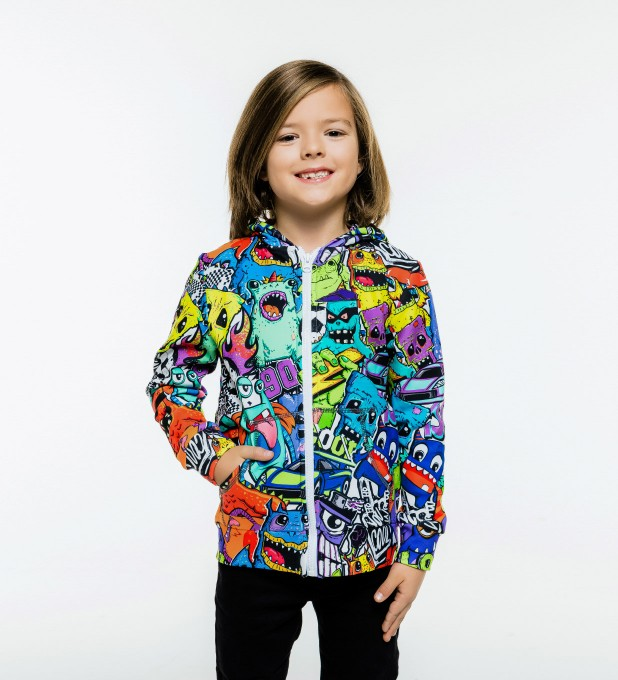 Colorful Monsters Kids Zip Up Hoodie Miniature 1