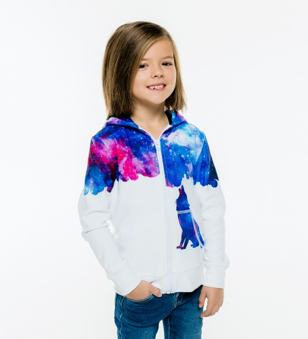 Howling to galaxy Kids Zip Up Hoodie Miniature 1