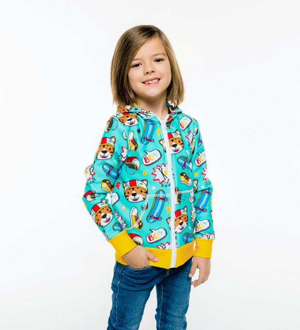 Skate Tiger Kids Zip Up Hoodie Miniature 1