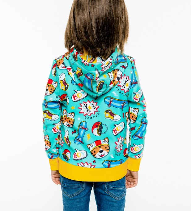 Skate Tiger Kids Zip Up Hoodie Miniature 2