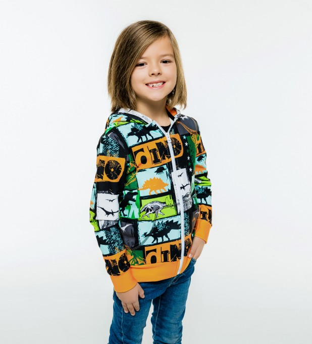 Dinosaurs Kids Zip Up Hoodie Miniature 1