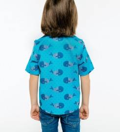 Mr. Gugu & Miss Go, Whales Pattern Shirt for kids Thumbnail $i
