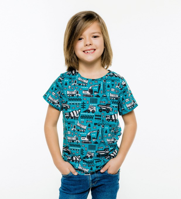 Trucks Green Pattern t-shirt for kids Miniature 1