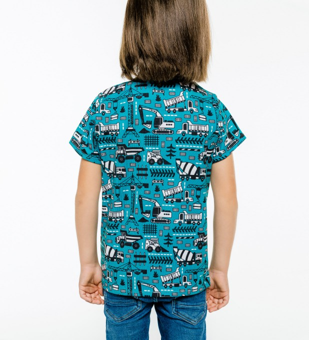 Trucks Green Pattern t-shirt for kids Miniature 2