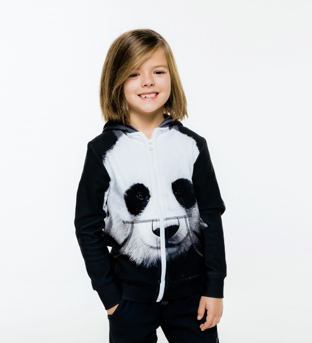 Panda Kids Zip Up Hoodie Miniature 1